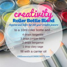 """""""creativity"""" roller bottle blend inspires and helps tap into your creative powers-- LOVE this!! amazing find! there are tons of great roller bottle blends {and FREE super cute labels} for all kinds of emotions-- calm, focus, grounding, balance, gratitude, happy, energy, comfort, motivation, courage, confidence, cheer, creativity, and more!!"""