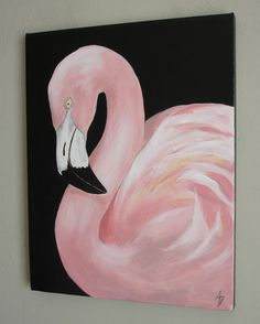 Pink Flamingo wall art canvas painting tropical by BirdsinHand, $100.00