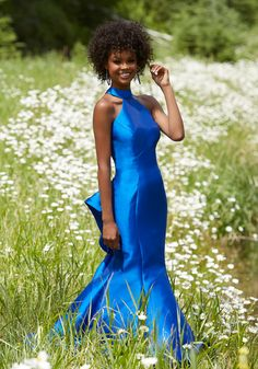 Morilee by Madeline Gardner 99145 | Larissa Satin Prom Dress with High Halter Neckline and Open Keyhole Back. Elegant Draping Along Back of Skirt. Colors Available: Royal, White