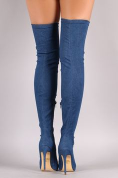 Liliana Thigh High Pointed Toe Stiletto Heel Boot #stilettoheelspointed #Highheelboots #stilettoheelsdress #stilettoheelsthighs