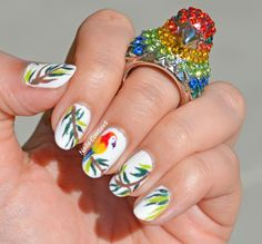 Colorful Parrot Nails with colorful Parrot rings #birdlover #birds #tropical #nailart #nailpolish