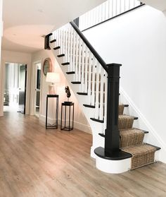 I can't believe how close we are to all three hallways being complete. To think I ummed and ahhed for months about starting this project… White Staircase, House Staircase, Staircase Remodel, Staircase Design, Staircases, Staircase Runner, Stair Railing, Black And White Hallway, Hallway Inspiration