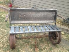 Bench my husband made with old car and truck parts