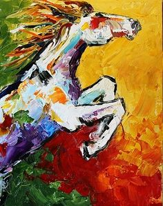 Summer Horse 39, by Texas Artist Laurie Pace, 100 Horse paintings in 100 days for $100 each., painting by artist Laurie Justus Pace