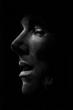 "judithkoehne-art: "" Benedict Cumberbatch white pencil and chalk on A4 black paper 
