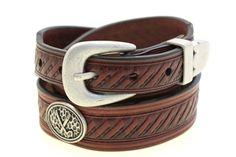 Men's Chestnut Bridle Leather Belt Embossed Tapered 3 piece buckle set Golf Conchos