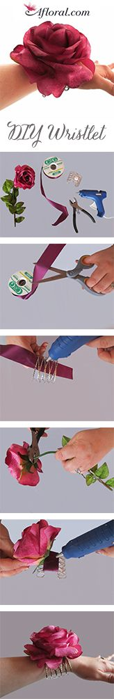 DIY Flower Wristlet.  Perfect for prom, the mother of the bride, or an alternative to the bridesmaids bouquet.  Afloral.com has pre-made wristlets or your can do it yourself with this step by step tutorial and supplies from Afloral.com.