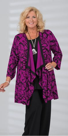 Kasbah fuchsia/black jersey print jacket, vest and trouser
