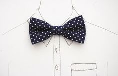 Navy polka dot pre-tied bow tie by DickBeau reminds us of the fabulous fifties! #bowtie #vintage #polkadot