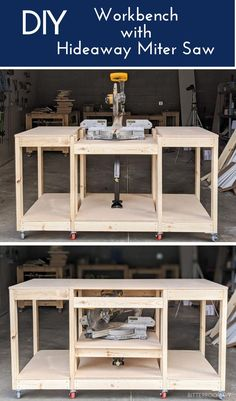 Grab plans to build this all-in-one workbench with a hideaway miter saw. It's perfect for small shops or garages where you don't have room for a permanent miter saw station.    #woodworking #woodshop #shoporganization #shopideas #workbench Garage Bench, Garage Workbench Plans, Building A Workbench, Diy Workbench, Woodworking Garage, Diy Garage, Woodworking Projects, Garage Shop, Cierra Circular