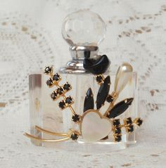 Black and Pearl Vintage Jewelry Embellished Perfume Bottle