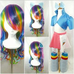 Check out this item in my Etsy shop https://www.etsy.com/listing/464274629/rainbow-dash-inspired-rainbow-wig-w-hair