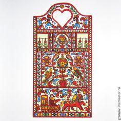 Купить Борецкая роспись (разделочная доска) - оригинальный подарок, что подарить бабушке, северодвинская роспись