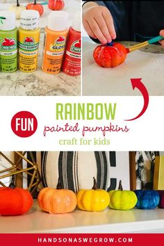 Super simple fall paint activity for toddlers and preschoolers to do at home! Create rainbow painted pumpkins for a super cute decoration! Kids Fall Crafts, Autumn Activities For Kids, Easy Art Projects, Projects For Kids, Toddler Preschool, Toddler Activities, Painting Activities, Leaf Crafts, Pumpkin Colors