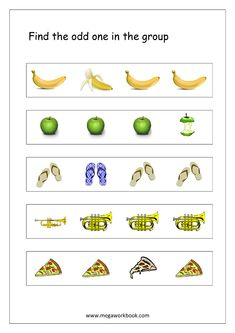 Free Printable Odd One Out Worksheets - Logical Thinking & Aptitude Worksheets For Kindergarten/Preschool Nursery Worksheets, Free Kindergarten Worksheets, Kindergarten Readiness, Worksheets For Kids, English Activities For Kids, Preschool Learning Activities, Free Preschool, Infant Activities, Birthday Chart Classroom