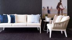 Cayman Outdoor Sofa $2,995, Cayman Outdoor Lounge Chair $1,295, Thom Filicia Warm Memories II Wall Art $2,255, Aruba Outdoor Side Table $275, Shibori Outdoor Scatter Cushion $110 Coming soon online.