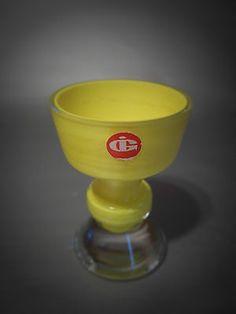 IG  INGRID GLAS Kristall kleiner Pokal Vase 60er gelb Ingridglas ÜBERFANG