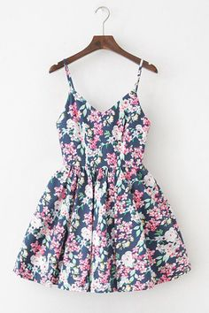 Floral Bloom Navy Strap Cute Retro Sundress