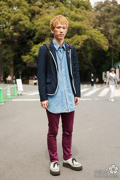 japanese men street fashion tuck in that shirt and you're good to go.. omg he has creepers love it <3