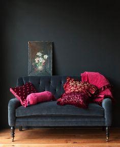 Charcoal wall and sofa