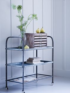 Make an industrial statement with our sturdy vintage style trolley. Made from cold rolled metal with a rusted zinc finish, this large trolley features three strong shelves, two solid and one slatted, with a small rim and a stamped industrial s Industrial Style Furniture, Luxury Furniture, Home Furniture, Furniture Vintage, Furniture Ideas, Mad About The House, Cox And Cox, Vintage Metal, Organizer