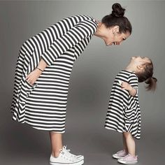 Family Matching Outfits,baby and mom women dress nighty,girl dress, kids pajamas,stripe,Mother and Child dress,Girls Clothing