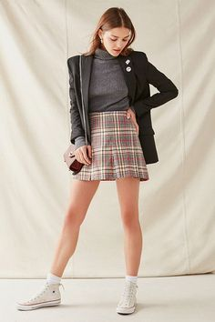 Slide View: 2: Vintage Pleated Plaid Skirt