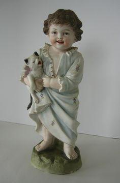 Antique German Bisque Piano Baby Figurine Hertwig Heubach Boy Cat Kitty Kitten | eBay
