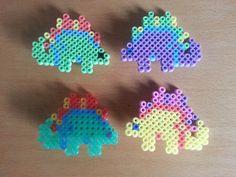 8bit dinosaur hama bead hair clip purple yellow by thelittlebears, £3.50