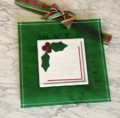 Holly holidays glass plate fused green w white by Glasspainter1, $65.00