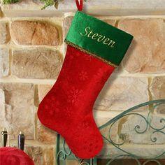 Embroidered Snowflake Christmas Stocking   Christmas Stocking   Personalized Christmas Stocking