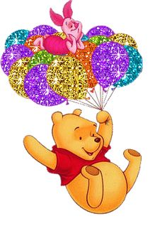 Sparkling Winnie the Pooh and Piglet riding on balloons Birthday Messages, Birthday Quotes, Birthday Cards, Winnie The Pooh Friends, Disney Winnie The Pooh, Disney Disney, Happy Birthday Pictures, Happy Birthday Greetings, Glitter Graphics