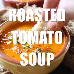 Fall Recipes, Soup Recipes, Vegetarian Recipes, Cooking Recipes, Healthy Recipes, Roasted Tomato Soup, Roasted Tomatoes, Hallowen Food, Cheesy Recipes