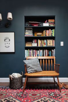 Inspiration for the HW Room - Emily Henderson, Farrow & Ball Hague Blue, Reading Nook, Leather Chair, Gallery Wall Dark Paint Colors, Wall Colors, Colours, Dark Walls, White Walls, Blue Rooms, Deco Design, Home And Deco, My New Room