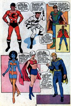 A host of awful costumes on this page. Cosmic Boy, Ultra Boy and Lightning Lad…