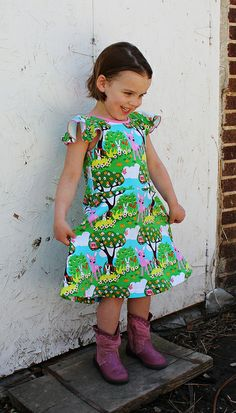 Kitschy Coo Skater Dress Flutter Sleeve, final edition with free downloadable pattern