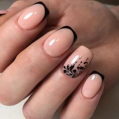Black and beige french nails with florals. Black and beige french nails with florals. Nagel Bling, Gothic Nails, Nagel Hacks, French Tip Nails, Black French Nails, Nails French Design, Short French Nails, Luxury Nails, Manicure E Pedicure