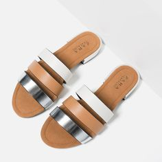 FLAT SHOES WITH METAL HEEL DETAIL-Flat sandals-SHOES-WOMAN | ZARA United States