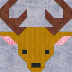 This pattern provides instructions for making the deer quilt block only. This modern patchwork pattern does not give instructions for making a