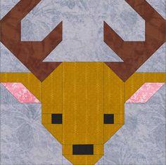 Deer 8 Quilt Block Pattern PDF Instant Download