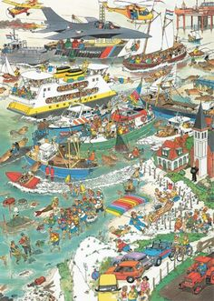 All at Sea (Eco Mare) - Jan van Haasteren puzzels Picture Writing Prompts, Isometric Art, Ligne Claire, Ship Paintings, Hidden Pictures, Hagia Sophia, Sea Theme, Cartoon Art Styles, Picture Description