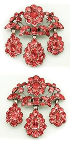 Pink precious topaz, silver and gold earrings. circa 1760. Portuguese.