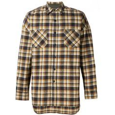 Fear Of God checked chest pockets shirt American Rag (4,255 ILS) ❤ liked on Polyvore featuring tops, checkered pattern shirt, american rag cie, brown shirt, checkered shirt and check pattern shirt