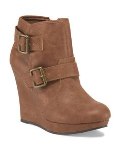 Qupid Val Wedge Bootie With Buckle/ TJ Maxx