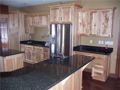 Kitchen cabinets rustic hickory dark countertops Ideas for 2019 Rustic Hickory Cabinets, Rustic Kitchen Cabinets, Kitchen Redo, New Kitchen, Kitchen Remodel, Kitchen Ideas, Kitchen With Hickory Cabinets, Oak Cabinets, Kitchen Tips