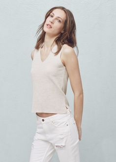 Топ из трикотажа с хлопком - Рубашки - Женская | OUTLET Россия (Российская Федерация)