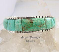 Ken Kirkbride Burtis Blue Cripple Creek Turquoise Cobblestone Cuff Bracelet ~ Schaef Designs New Mexico