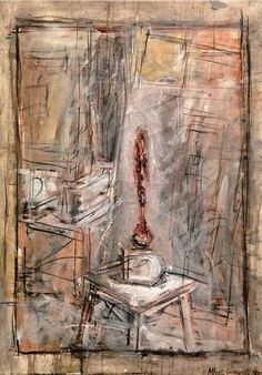 Alberto Giacometti 1901 - 1966 ATELIER I Signed Alberto Giacometti and dated 1950 (lower right) Oil on canvas 25 by 18 in. Painted in Alberto Giacometti, Giacometti Paintings, Figure Painting, Painting & Drawing, Modern Art, Contemporary Art, Famous Sculptures, Statues, Italian Paintings