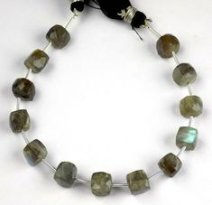 Natural Labradorite Faceted Pear Beads 5x8mm-7x10mm Side Drill 10 Inch Strand