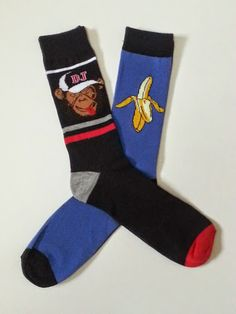 Monkey and Banana themed Crew Socks! Sold by Socks & Souls where we are warming souls through soles by giving a pair of socks to someone in need with every sock purchase! Visit socksandsouls.com today and warm souls, and soles, the simple way!